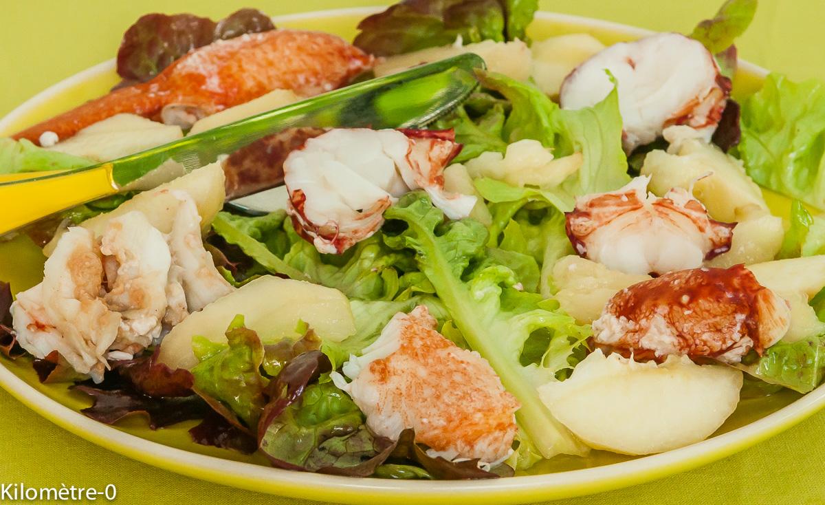 Photo de recette de salade de homard aux pêches de Kilomètre-0, blog de cuisine réalisée à partir de produits locaux et issus de circuits courts
