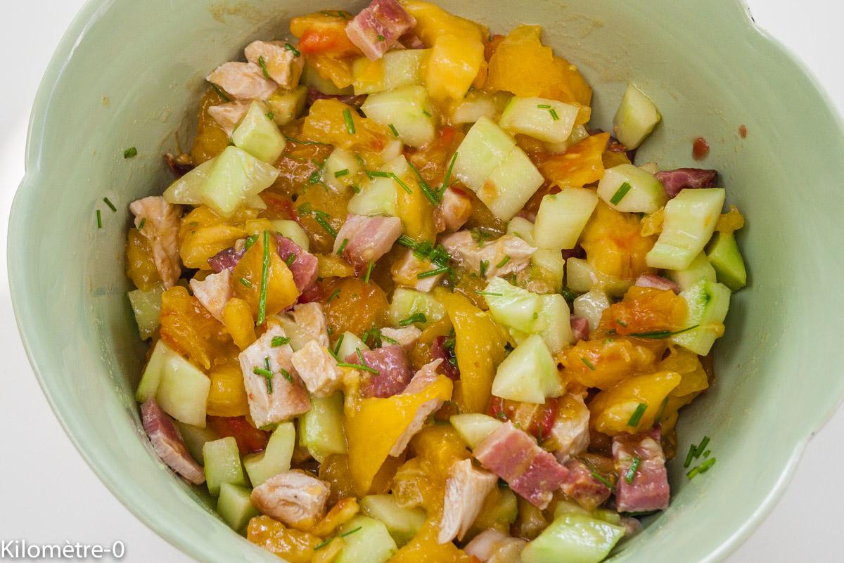 Photo de  salade de dinde, poitrine fumée, concombre tomates facile, léger été derecette de Kilomètre-0, blog de cuisine réalisée à partir de produits locaux et issus de circuits courts