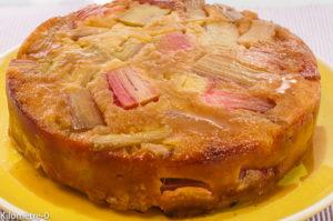 Photo de recette de tatin facile rhubarbe léger  Kilomètre-0, blog de cuisine réalisée à partir de produits locaux et issus de circuits courts