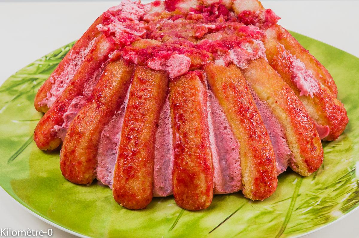 Photo de recette de charlotte légère aux framboises facile été deKilomètre-0, blog de cuisine réalisée à partir de produits locaux et issus de circuits courts