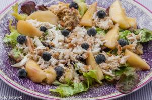 Photo de recette de salade araignée, pêche, myrtilles, facile, léger, rapide de Kilomètre-0, blog de cuisine réalisée à partir de produits locaux et issus de circuits courts