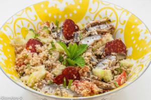 Photo de recette de taboulé facile, rapide, léger, sardines chorizo de Kilomètre-0, blog de cuisine réalisée à partir de produits locaux et issus de circuits courts