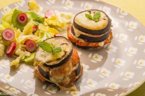 Photo de recette de millefeuilles de tomates aubergines, facile, mozza, bio de Kilomètre-0, blog de cuisine réalisée à partir de produits locaux et issus de circuits courts
