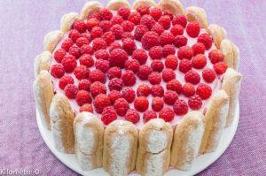 Photo de recette de charlotte facile, légère, aux framboises de Kilomètre-0, blog de cuisine réalisée à partir de produits locaux et issus de circuits courts