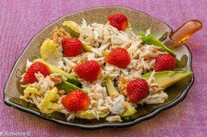 Photo de recette de salade facile, araignée, avocats, fraises de Kilomètre-0, blog de cuisine réalisée à partir de produits locaux et issus de circuits courts