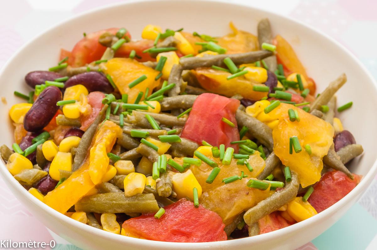 Photo de recette de salade tomate, haricots rouges, maïs, haricots verts, facile rapide léger deKilomètre-0, blog de cuisine réalisée à partir de produits locaux et issus de circuits courts