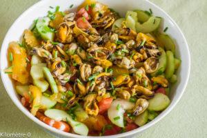 Photo de recette de salade grecque aux moules et crevettes, facile, rapide, légère deKilomètre-0, blog de cuisine réalisée à partir de produits locaux et issus de circuits courts