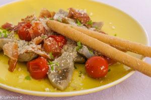 Photo de recette de poelée artichaut italienne parmesan tomates facile rapide deKilomètre-0, blog de cuisine réalisée à partir de produits locaux et issus de circuits courts