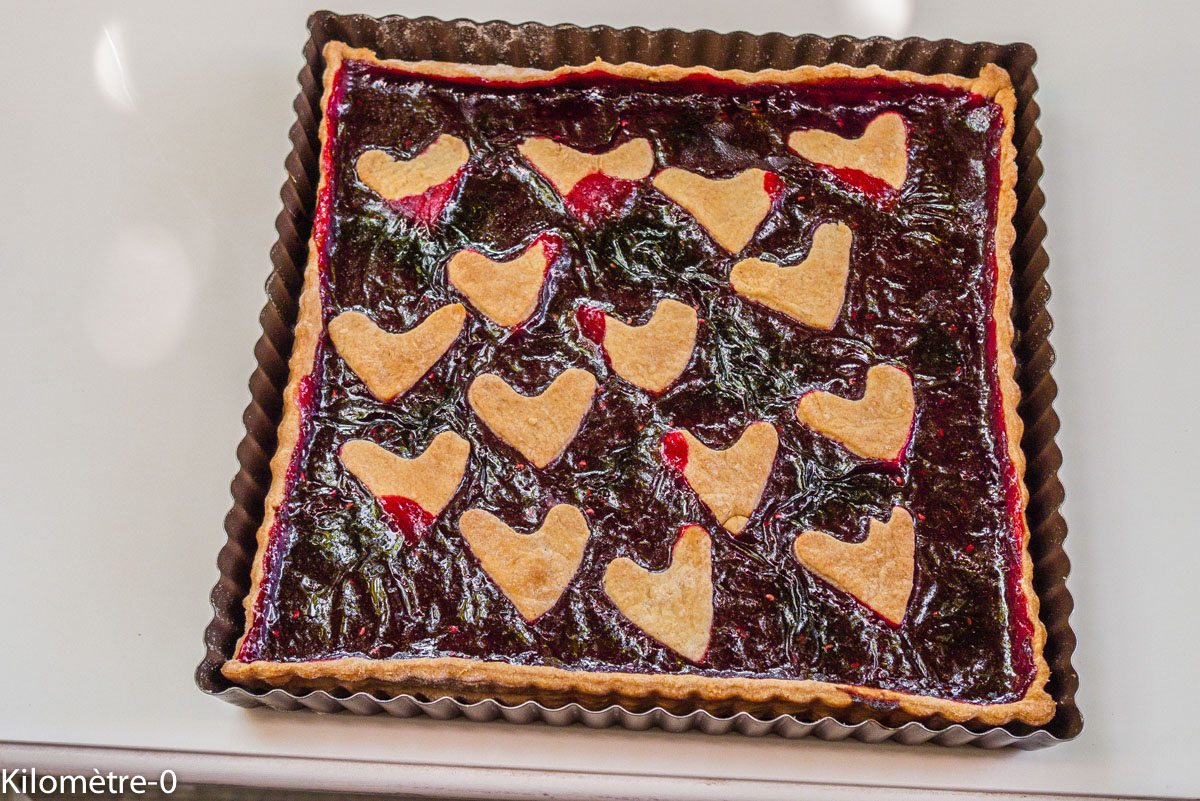 Photo de recette de tarte au coulis de cassis de Kilomètre-0, blog de cuisine réalisée à partir de produits locaux et issus de circuits courts