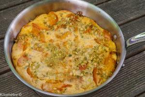 Photo de recette de crêpe gâteau flamusse aux abricots facile, rapide, léger deKilomètre-0, blog de cuisine réalisée à partir de produits locaux et issus de circuits courts