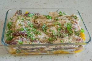 Photo de recette de gratin de sardines aux oranges, pignons et chapelure facile rapide légère de Kilomètre-0, blog de cuisine réalisée à partir de produits locaux et issus de circuits courts