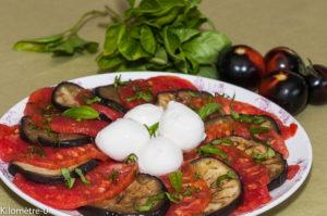 Photo de recette de salade tomates aubergines mozzarella facile, léger, bio de Kilomètre-0, blog de cuisine réalisée à partir de produits locaux et issus de circuits courts