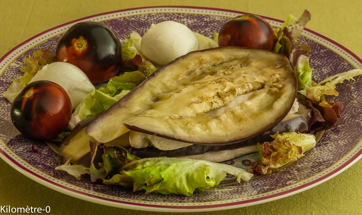 Photo de recette de millefeuille aubergine poulet mozza de Kilomètre-0, blog de cuisine réalisée à partir de produits locaux et issus de circuits courts