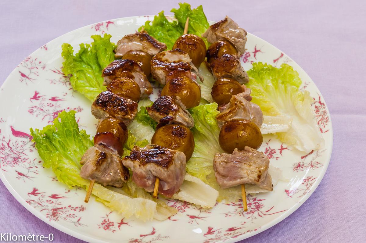 Photo de recette de brochette porc mirabelles facile rapide légère de  Kilomètre-0, blog de cuisine réalisée à partir de produits locaux et issus de circuits courts