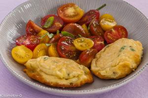 Photo de recette de fritelle ricotta tomates cerises facile rapide léger de Kilomètre-0, blog de cuisine réalisée à partir de produits locaux et issus de circuits courts
