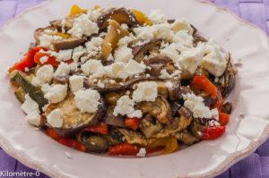 Photo de recette de salade de légumes d'été à la fêta facile, légère bio de Kilomètre-0, blog de cuisine réalisée à partir de produits locaux et issus de circuits courts