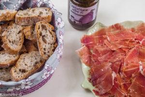 Photo de recette d'apéro confiture d'aubergine jambon de  Kilomètre-0, blog de cuisine réalisée à partir de produits locaux et issus de circuits courts
