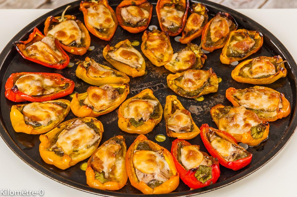Photo de recette de mini poivrons farcis sardines, pesto, scamorza facile, rapide, léger de Kilomètre-0, blog de cuisine réalisée à partir de produits locaux et issus de circuits courts