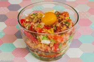 Photo de recette de salade composée été  thon, oeuf tomate facile, rapide, légère de Kilomètre-0, blog de cuisine réalisée à partir de produits locaux et issus de circuits courts