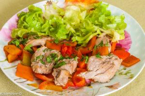 Photo de recette de sauté de porc, filet mignon, poivron, facile, rapide, bio, léger, de Kilomètre-0, blog de cuisine réalisée à partir de produits locaux et issus de circuits courts