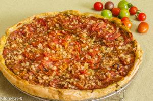 Photo de recette de tarte facile, rapide, bio, tomates, pesto, pécorino de  Kilomètre-0, blog de cuisine réalisée à partir de produits locaux et issus de circuits courts