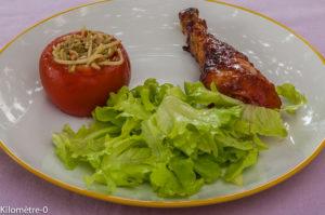 Photo de recette de poulet, sauce barbecue, tomates farcies, pâtes pesto, facile, rapide, bio de Kilomètre-0, blog de cuisine réalisée à partir de produits locaux et issus de circuits courts