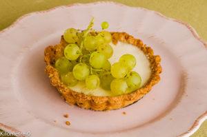 Photo de recette de tarte à la panna cotta raisin frais facile, rapide, léger, bio de Kilomètre-0, blog de cuisine réalisée à partir de produits locaux et issus de circuits courts