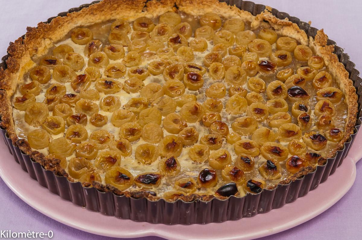 Photo de recette de tarte, raisins frais, raisin blanc, facile, rapide, bio, léger de Kilomètre-0, blog de cuisine réalisée à partir de produits locaux et issus de circuits courts