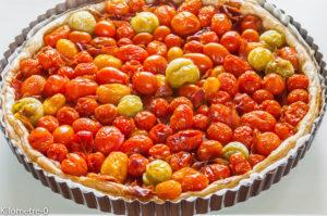 Photo de recette de tarte moutarde tomates cerise facile, rapide, bio, légère deKilomètre-0, blog de cuisine réalisée à partir de produits locaux et issus de circuits courts