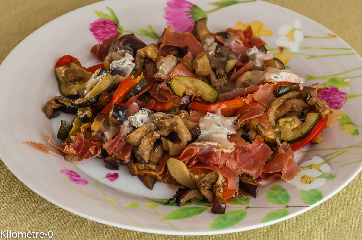 Photo de recette de légumes frais cuit, jambon, fromage facile rapide, léger de Kilomètre-0, blog de cuisine réalisée à partir de produits locaux et issus de circuits courts