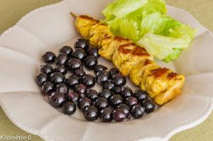 Photo de recette de brochette dinde, raisins noirs, frais, facile, rapide, léger de Kilomètre-0, blog de cuisine réalisée à partir de produits locaux et issus de circuits courts
