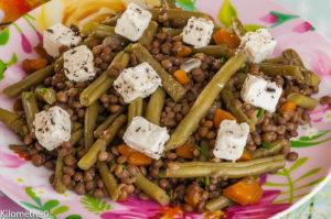 Photo de recette de salade lentilles, fêta, haricots verts, facile, léger, rapide, bio de Kilomètre-0, blog de cuisine réalisée à partir de produits locaux et issus de circuits courts
