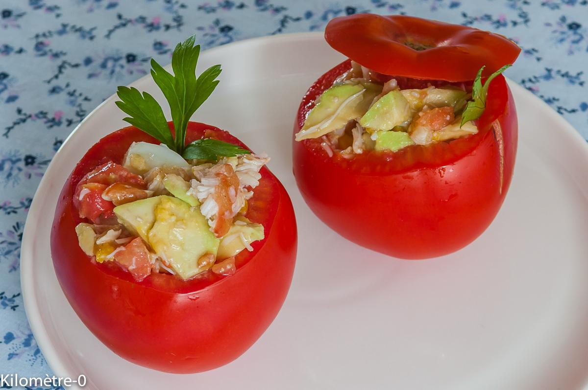 Photo de recette de tomates farcies froides crabe, avocat, oeuf, facile, rapide, léger deKilomètre-0, blog de cuisine réalisée à partir de produits locaux et issus de circuits courts
