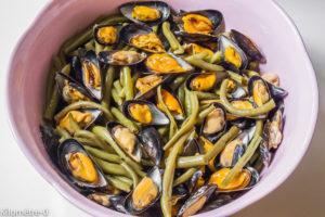 Photo de recette de salade de moules, haricots verts, facile, rapide, légère, deKilomètre-0, blog de cuisine réalisée à partir de produits locaux et issus de circuits courts
