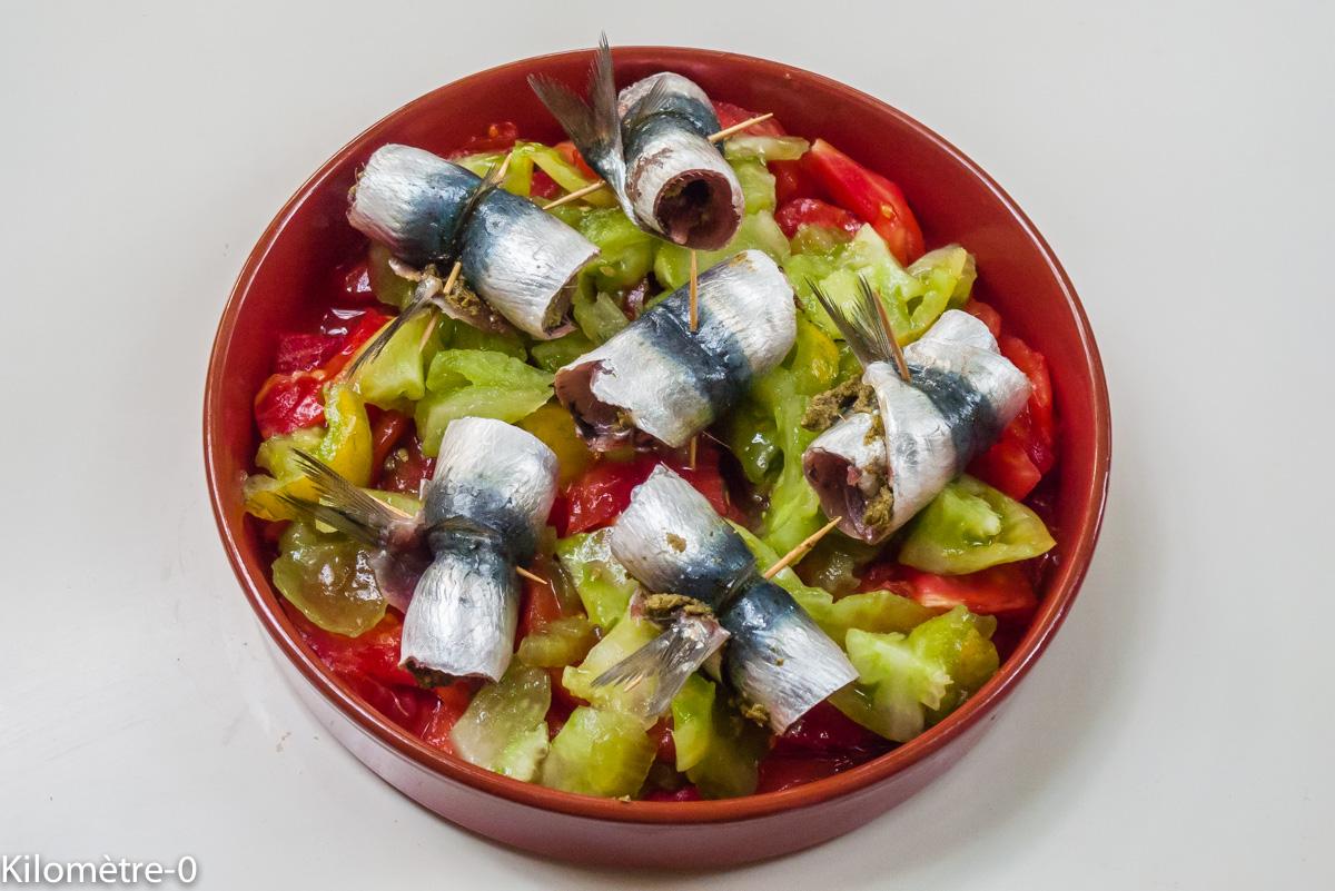Photo de recette de roulés de sardines aux tomates rapide, léger, facile de Kilomètre-0, blog de cuisine réalisée à partir de produits locaux et issus de circuits courts
