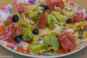 Photo de recette de jambon, raisins frais, raisins noirs, chasselas, roquefort, facile, rapide, économique, léger deKilomètre-0, blog de cuisine réalisée à partir de produits locaux et issus de circuits courts