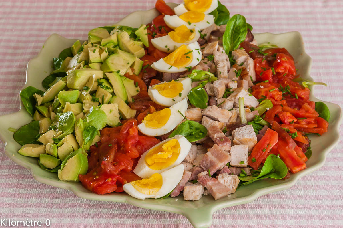 Photo de recette de salade composée, tomates, avocat, oeuf dur, dinde, poitrine, facile, rapide, simple, bio, léger deKilomètre-0, blog de cuisine réalisée à partir de produits locaux et issus de circuits courts