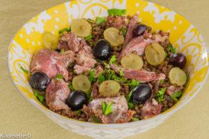 Photo de recette de salade confit de canard, raisins frais, lentilles, facile, rapide,  bio deKilomètre-0, blog de cuisine réalisée à partir de produits locaux et issus de circuits courts
