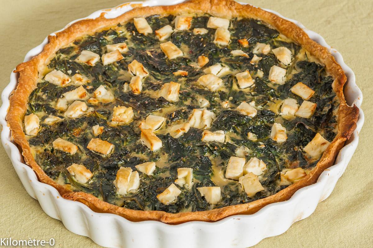 Photo de recette de tarte épinards fêta facile, rapide, légère bio de Kilomètre-0, blog de cuisine réalisée à partir de produits locaux et issus de circuits courts
