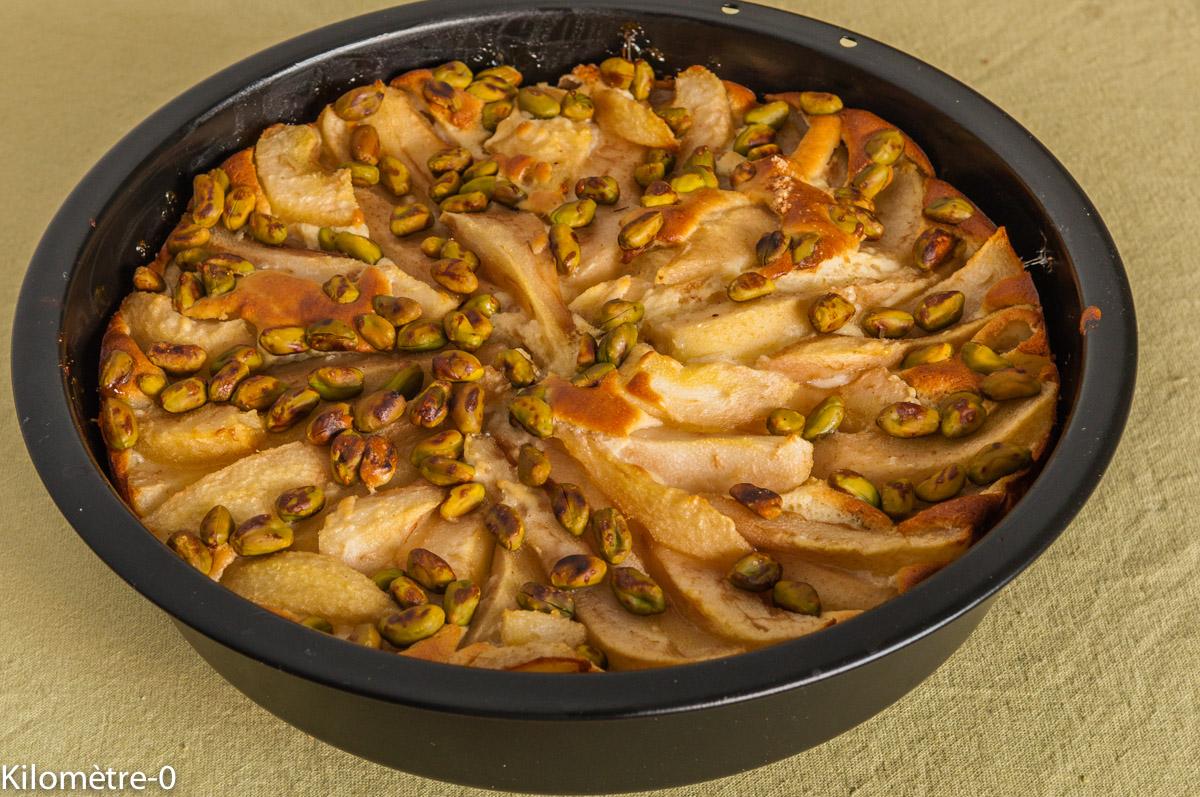 Photo de recette de gâteau poire, pistache, ricotta, facile, rapide, léger, bio de  Kilomètre-0, blog de cuisine réalisée à partir de produits locaux et issus de circuits courts