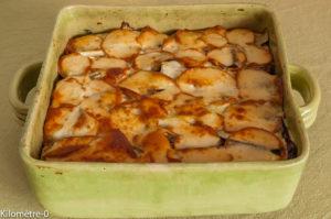 Photo de recette de gratin aubergine, scamorza, girolles, jambon, facile, rapide, léger, bio, Kilomètre-0, blog de cuisine réalisée à partir de produits locaux et issus de circuits courts