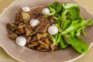Photo de recette de poelee aubergine, champignon facile, rapide, léger de Kilomètre-0, blog de cuisine réalisée à partir de produits locaux et issus de circuits courts