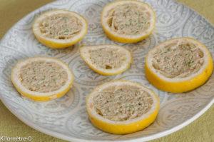 Photo de recette de citron farcis, mousse de thon, facile, rapide, léger deKilomètre-0, blog de cuisine réalisée à partir de produits locaux et issus de circuits courts