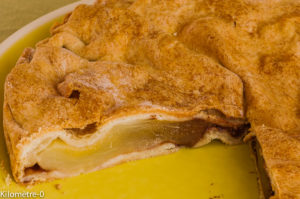 Photo de recette de tarte, tourte, poire, chocolat, facile, rapide, léger, bio de Kilomètre-0, blog de cuisine réalisée à partir de produits locaux et issus de circuits courts
