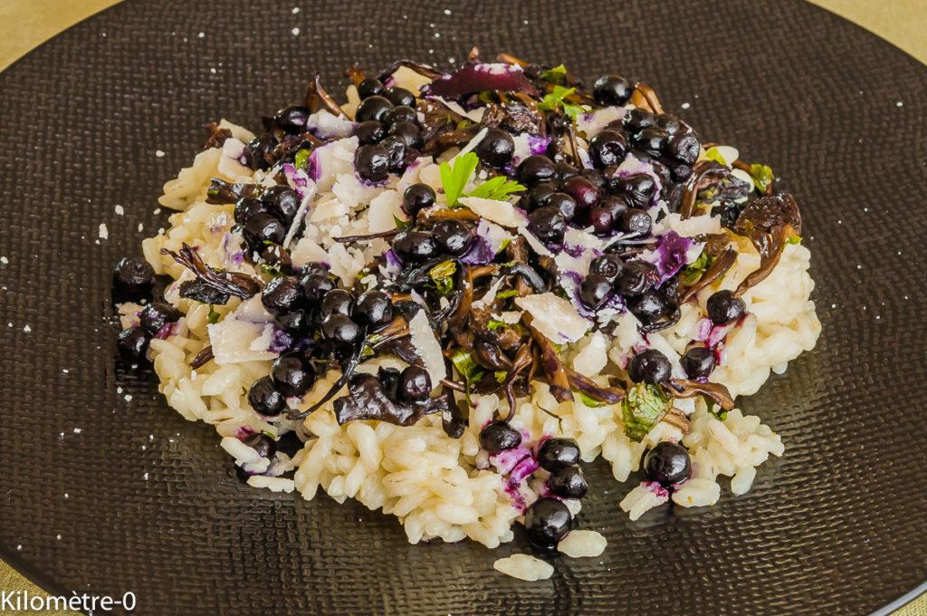 Photo de recette de risotto, girolles, champignons, myrtilles, parmesan, facile, léger, rapide de Kilomètre-0, blog de cuisine réalisée à partir de produits locaux et issus de circuits courts