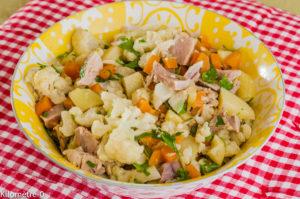 Photo de recette de salade de jarret de porc, carottes, pomme de terre, chou fleur, facile, bio, rapide, léger, économique de Kilomètre-0, blog de cuisine réalisée à partir de produits locaux et issus de circuits courts