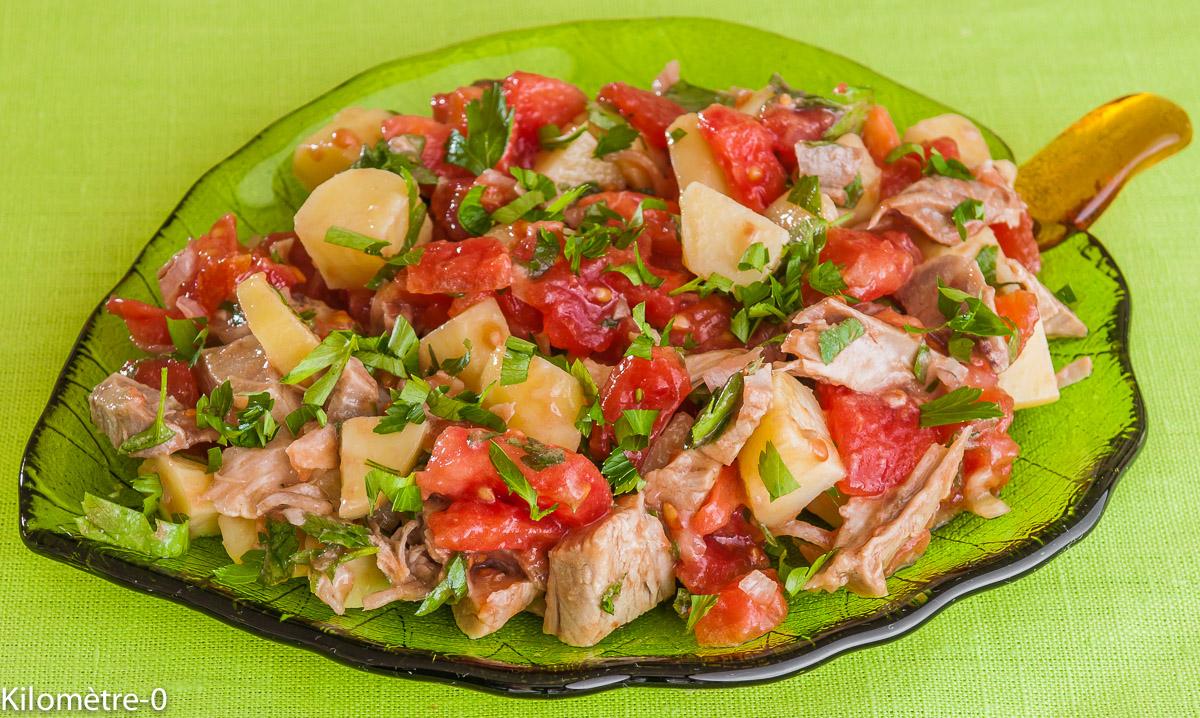 Photo de recette de saladehealthy, facile, jarret de porc, pomme de terre, tomate, échalote, rapide, léger, bio, simple de Kilomètre-0, blog de cuisine réalisée à partir de produits locaux et issus de circuits courts