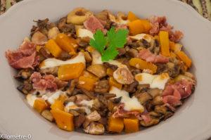 Photo de recette de poêlée, patate douce, champignons, cèpes, châtaignes, facile, rapide, léger, économique de Kilomètre-0, blog de cuisine réalisée à partir de produits locaux et issus de circuits courts