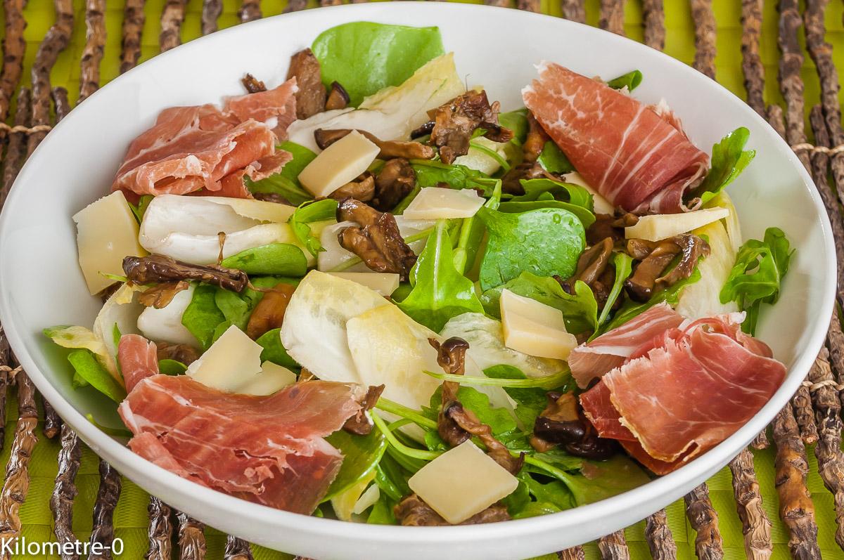 Photo de recette de salade, cèpes, endives, jambon, facile, rapide, léger, bio, Kilomètre-0, blog de cuisine réalisée à partir de produits locaux et issus de circuits courts