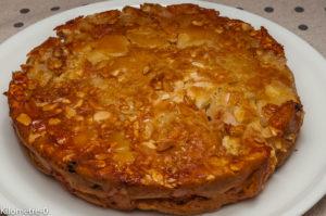 Photo de recette de  gâteau facile, pommes, amandes, raisins secs, léger, bio de Kilomètre-0, blog de cuisine réalisée à partir de produits locaux et issus de circuits courts